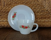 Vintage Anchor Hocking Fire King Milk Glass Rose Cup and Saucer