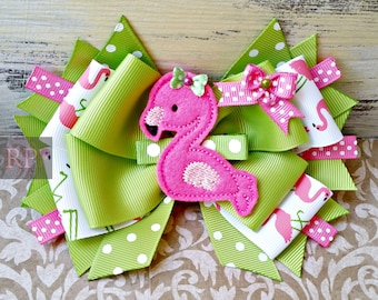 Stacked Boutique Hairbow with Flamingo Clip Center -Nature Bird Hair Clip - Hand Sewn Bow - RTS (Ready to Ship)