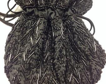 Pretty Vintage Black Beaded Dangle Purse Bag