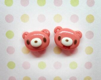 Gloomy Bear - handmade stud earrings - Polymer Clay