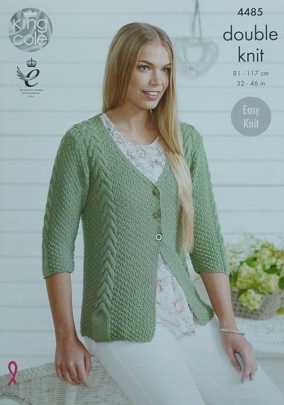 Womens Knitting Pattern K4485 Ladies Easy Knit 3/4 Sleeve