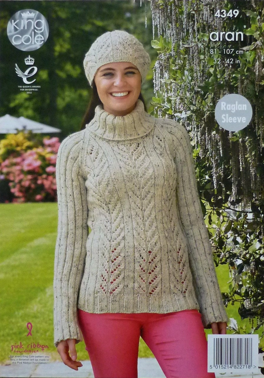 Womens Knitting Pattern K4349 Ladies Long Raglan Sleeve Polo Neck Rib Jumper ...