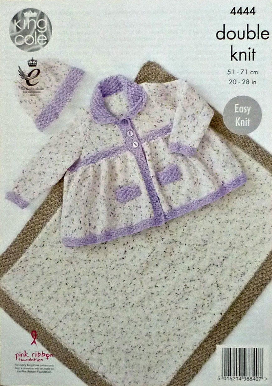 Children s Blanket Pattern Knitting : Girls Knitting Pattern K4444 Childrens Blanket Hat and Smocked