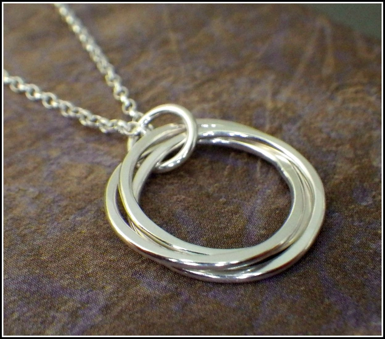 3 rings necklace interlocking rings 30th birthday necklace