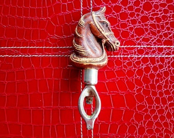 Vintage Barware Tool Horse Bottle Opener Equestrian Man Cave Bar Decor Faux Wood Leather Like