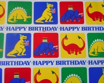 1980 Child Dinosaur Wrapping Paper Scrapbooking Craft Altered Art  Primary Colors Retro Happy Birthday General Purpose Wrapping Paper