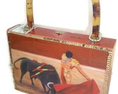 "Fine Art, Cigar Box Purse w/ ""Soledad"" painting on top. Five Handbags to Choose"