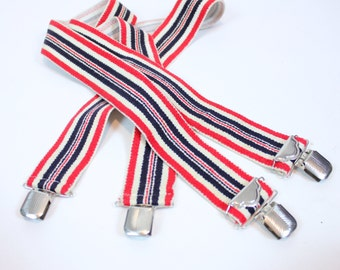 SALE Vintage Retro Red White and Blue Striped Suspenders