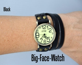 Big Face Watch - BLACK - Leather Wrap Watch - Leather Watch in Black - Leather Wrap Bracelet - Leather Jewelry - Leather Bracelet - Black