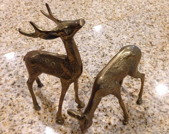 Brass stag deer and doe figurine