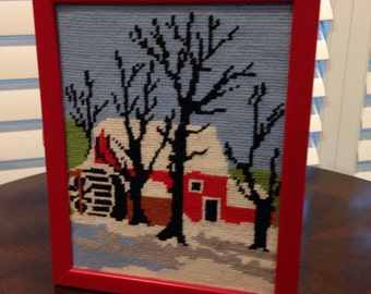Country Scene Needlepoint picture and frame barn in winter snow