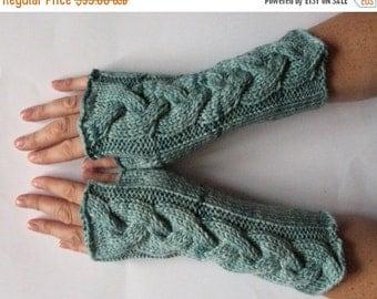 Fingerless Gloves Wrist Warmers Wormwood Mint Green knit
