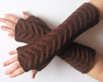 """Fingerless Gloves Brown 12"""" Mittens arm warmers Knit Soft Acrylic Mohair"""