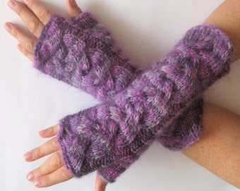 Fingerless Gloves Wrist Warmers Mittens Purple Violet Knit