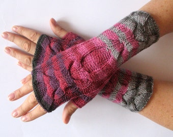 Fingerless Gloves Black Gray Pink Purple wrist warmers