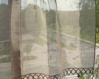 Natural Linen Curtain Vintage Lace Curtains Cafe Curtains Washed Linen Gray Kitchen Curtains Lace Panels Curtains Burlap Curtains Panels