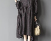 Black oversized loose long dress blue large size dresses