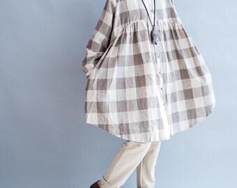 cotton oversize doll shirt Loose long shirt Women long gown