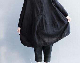cotton oversized shirt Black shirt white shirt doll bottoming shirt