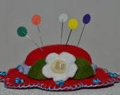 Hat Pin Cushion - Classic Red Wool Felt Handmade Hat Pin Cushion