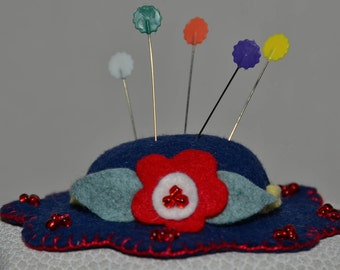 Hat Pin Cushion - Navy Blue Wool Felt Handmade Hat Pin Cushion