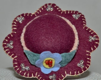 Hat Pin Cushion - Mauve Wool Felt Handmade Hat Pin Cushion