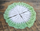 Four Vintage Round Doilies White Center with Green Trim