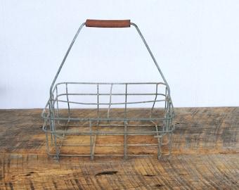 Vintage Milk Bottle Carrier Basket  Wire 4 Slot Half Gallon Tote