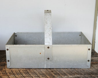 Vintage Aluminum Tool Caddy Storage Tote Industrial