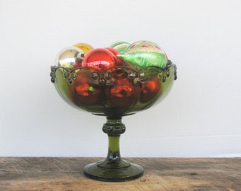Vintage Glass Compote Avocado Green Tear Drop Design Indiana Glass Pedestal Bowl