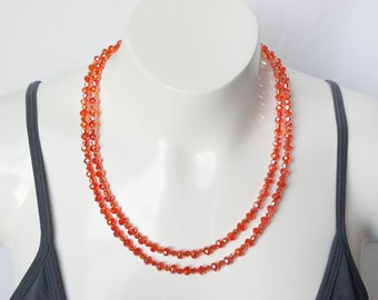 Orange Necklace, Statement Necklace, Multi Strand Necklace, Tangerine Necklace, Crystal Necklace, Sparkle Necklace, Bling Necklace, Trending