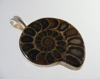 Vintage Fossil Ammonite Sterling Silver Pendant.....  Lot 4235
