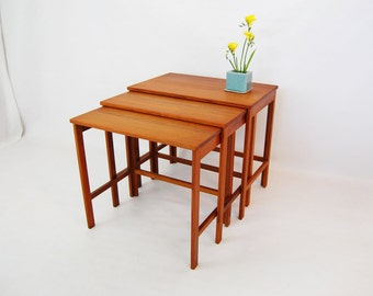 Danish Modern France and Son Solid Teak Nesting Tables by Peter Hvidt and Orla Molgaard Nielsen made in Denmark