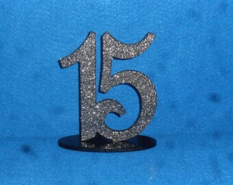 Wooden Table Numbers - Glitter Table number - Black Table Numbers - 1-15 - Silver Table Number - Wood Table number - Wedding table numbers