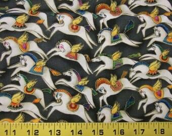 OOP Laurel Burch Fabric MYTHICAL HORSES Small Flying Horses Pegasus - Fat Quarter