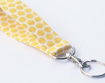 HoneyComb Keychain, Fabric Key Fob With Snap, Wristlet Lanyard, Yellow