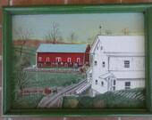 vintage original painting board signed Bernice Barn farm Berks Pennsylvania folk art primitive