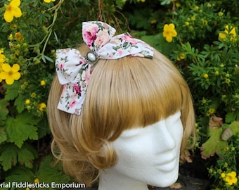 Ivory and Pink Rose Hair Bow with Pearl Cabochon - Headband OR Alligator Clip - Handmade