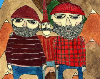 The Lumberjacks - Original Art on Wood