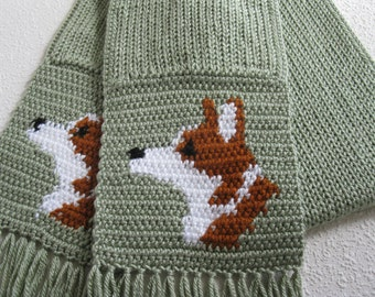 Corgi Scarf.  Spearmint green, knit and crochet scarf with Welsh corgi dogs.  Scarves with Pembroke welsh corgis