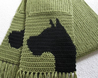Boxer dog scarf. Leaf green, crochet and knitted scarf with boxer silhouettes. Knit dog scarf.