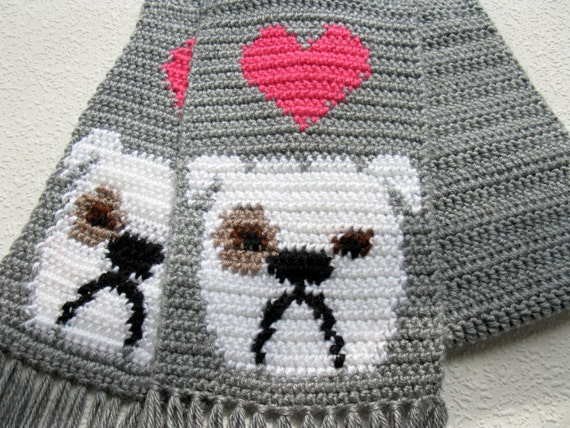 English Bulldog Scarf.  Grey, crochet scarf with white bulldogs and bright pink hearts.