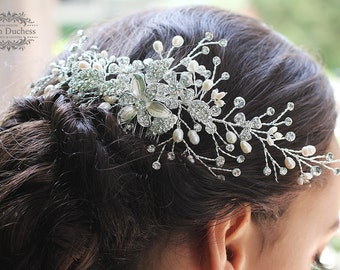 Bridal hair vine, Bridal comb, Bridal hair comb, Ivory Pearl comb, Swarovski crystal comb, bridal headpiece, bridal hair accessory