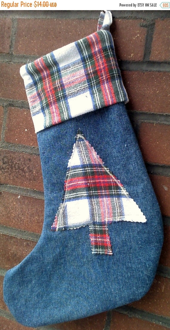 Sale Christmas Stocking Upcycled Denim and Flannel Tree Design