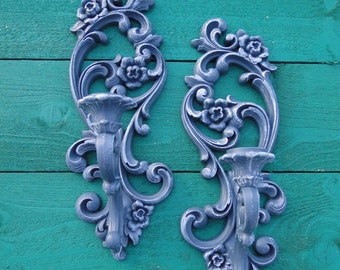 """Pair of taper candle sconces ornate floral romantic French Country Paris Apartment Blue Gray  """"Stormy"""" Modern Vintage"""