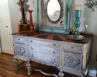 """Vintage Ornate Buffet in Antiqued aged Nickel Silver Stained Top """"Carnival Sunset"""" Modern Vintage"""