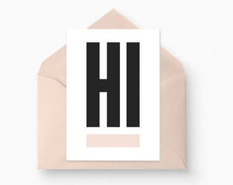 Greeting Card - Hi Card, Hello Card, Modern Greeting Card, Simple Bold Card, Hi Greeting Card, Hello