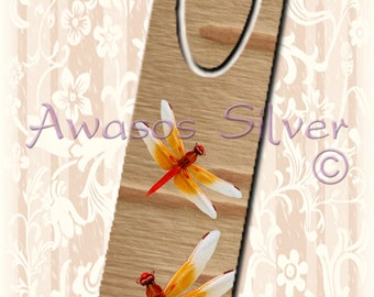 Metal bookmark with high quality printed original images. Birch bark and red dragonflies design bookmark.