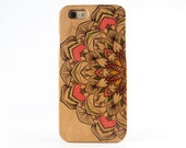 Natural Cherry Wood iPhone 6 case Painted Flower iPhone 6 cover - NW6011