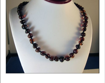 Vintage Baltic Cherry Amber Bead Necklace